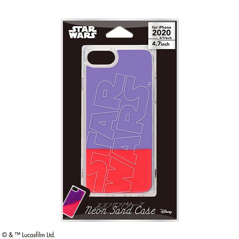 STAR WARS/iPhone SE2nd/8/7/6s/6用 ネオンサンドケース [ロゴ/ブルー&レッド]