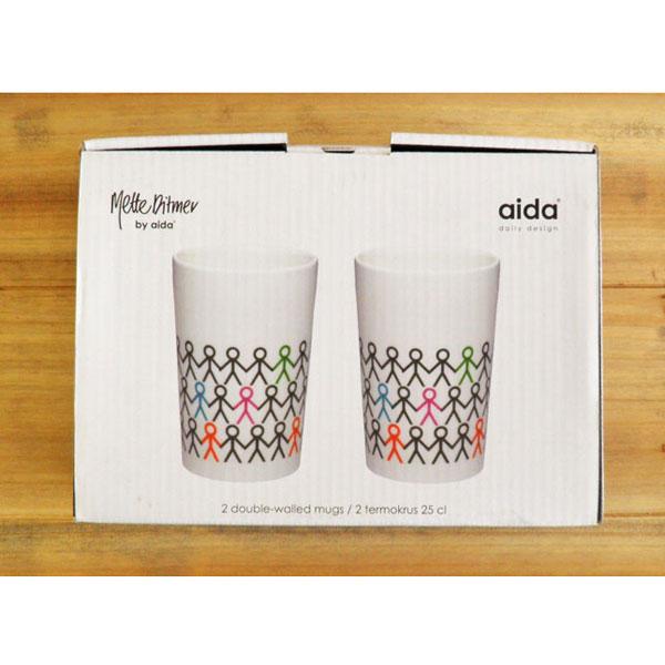 aida Mette Ditmer hold my hand double wall mug 250ml 2pcs (ロット:2)