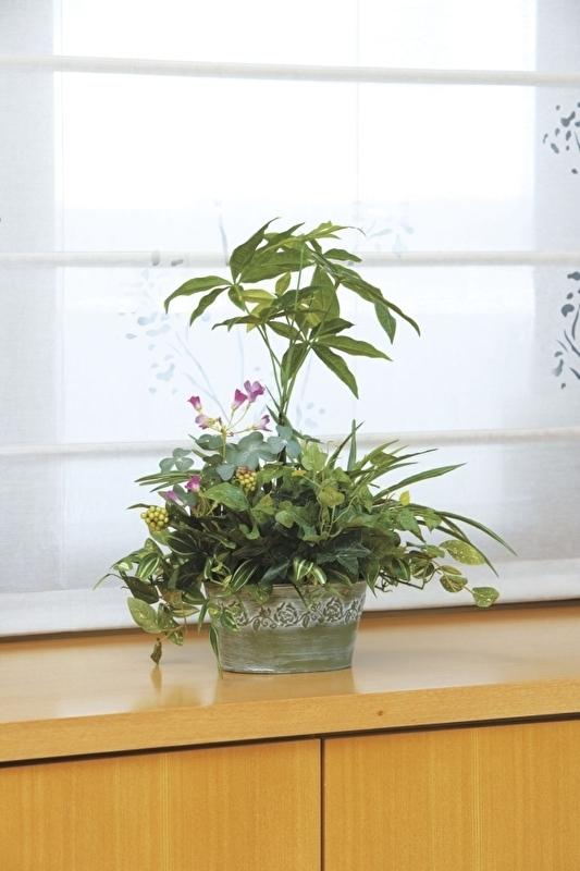 観葉植物 インテリアグリーン フェイク 人工観葉植物 光触媒 寄せ植えパキラ  《アートグリーン》
