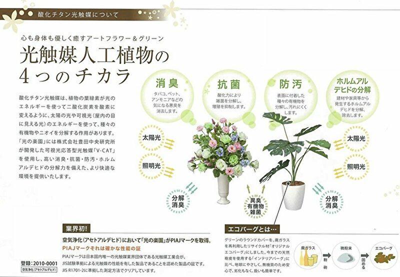 観葉植物 インテリアグリーン フェイク 人工観葉植物 光触媒 開運8色フラワ−  《アートグリーン》