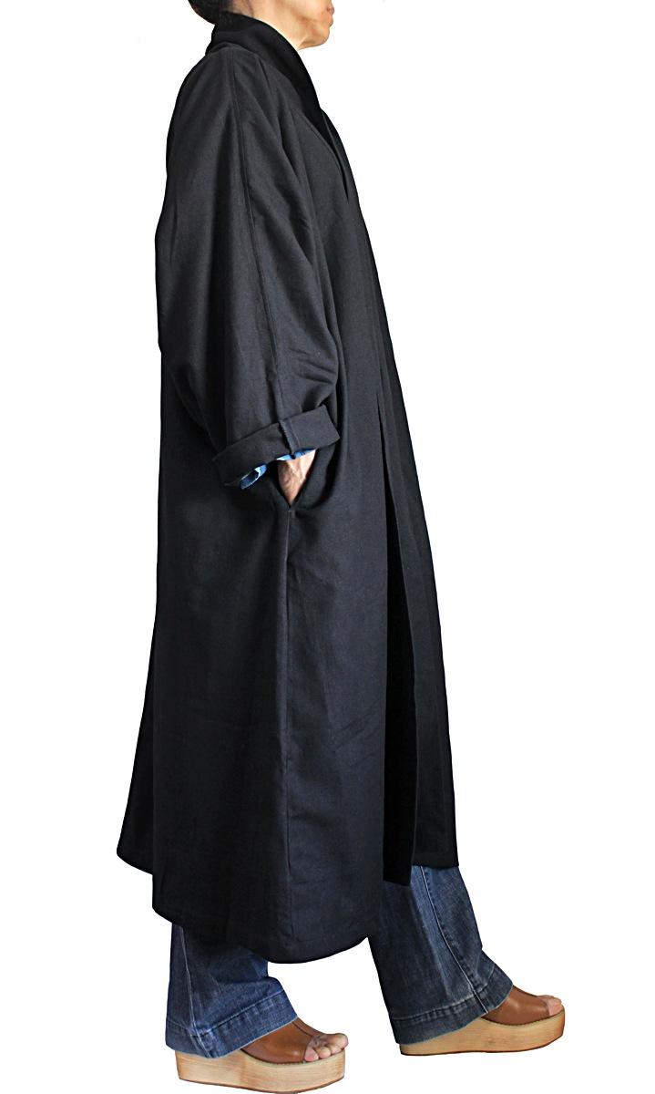 ジョムトン手織り綿和風コート龍柄インディゴ綿布裏地付き(黒)
