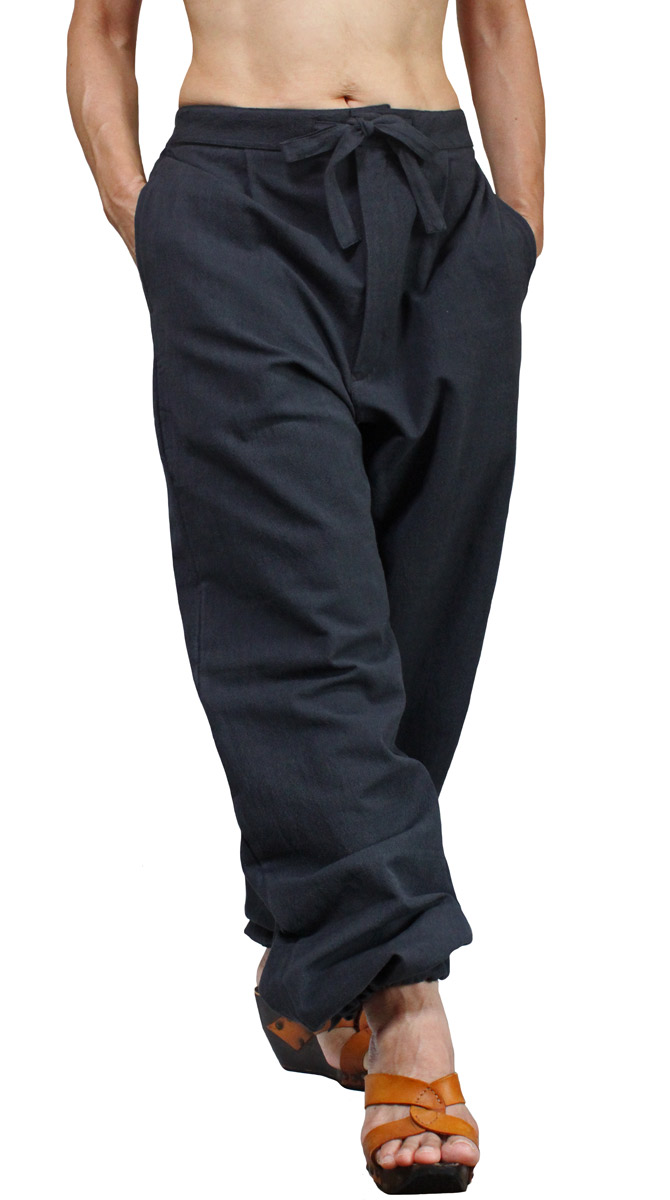 ジョムトン手織り綿の作務衣パンツ(墨黒)