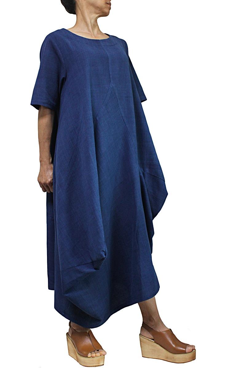 ジョムトン手織り綿のマルチ切り替えドレス(インディゴ)