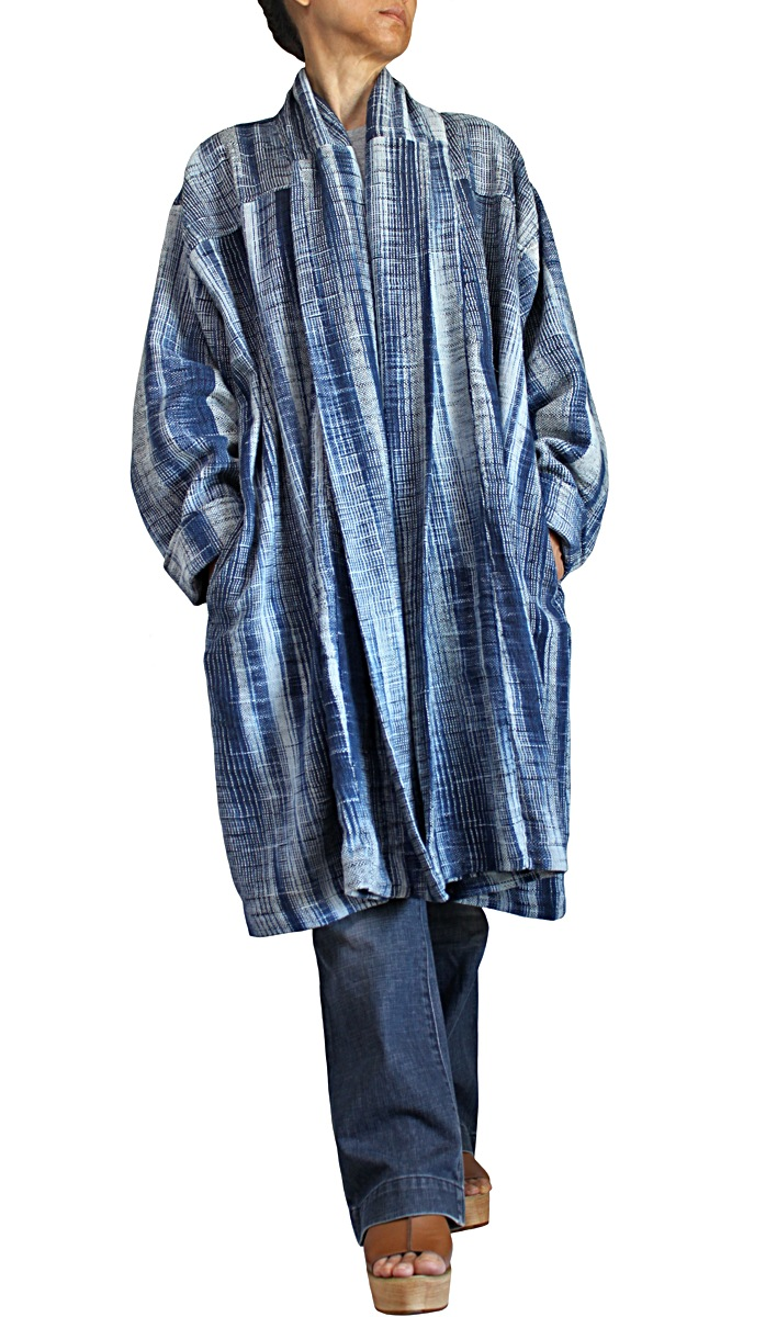 ざっくりジョムトン手織り綿ローブコート(紺)