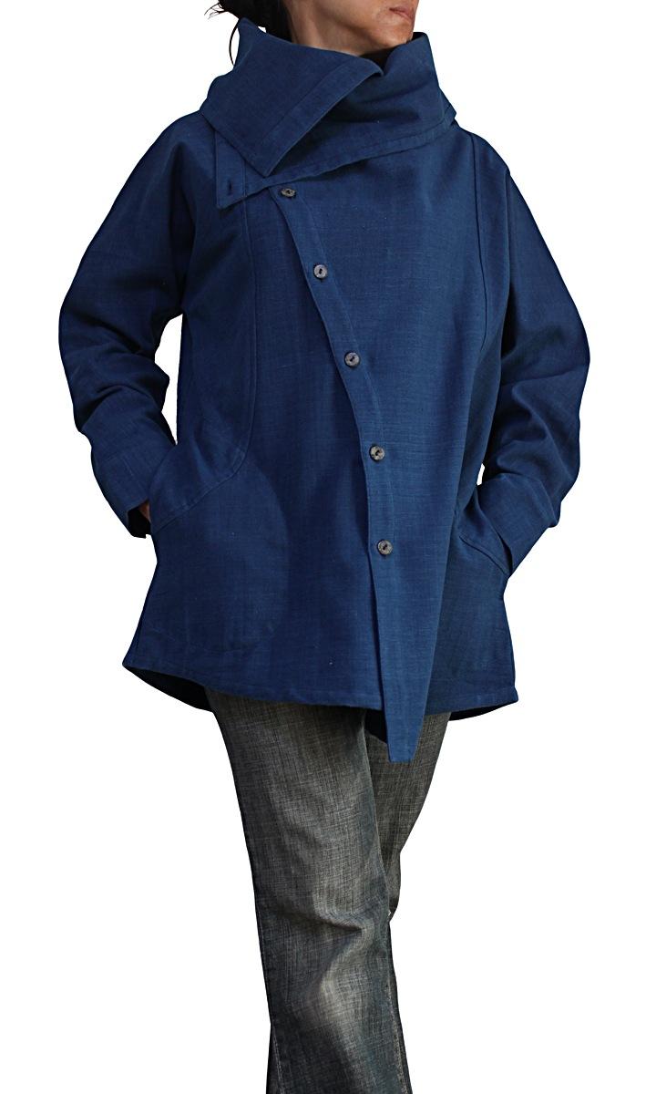 ジョムトン手織り綿ノマドシャツインディゴ染め(BFS-150)