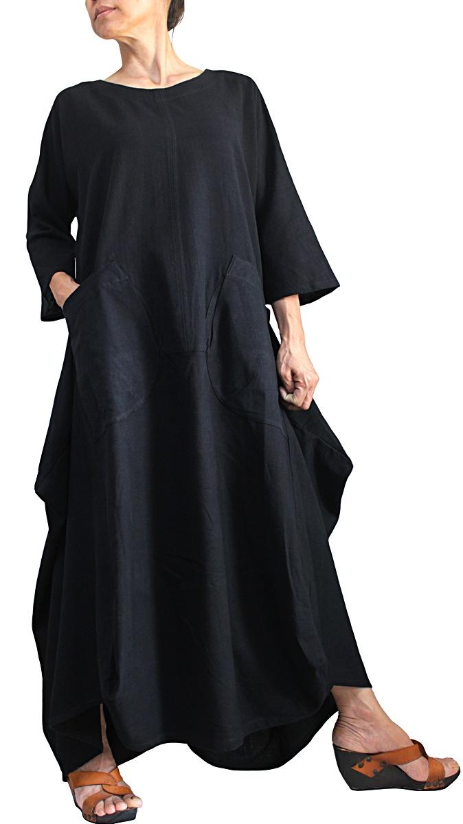 ジョムトン手織り綿デザインロングドレス(黒)