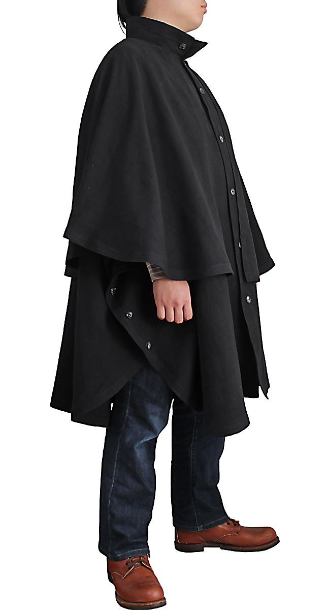 ジョムトン手織り綿ケープ付きハイネックマント(黒)