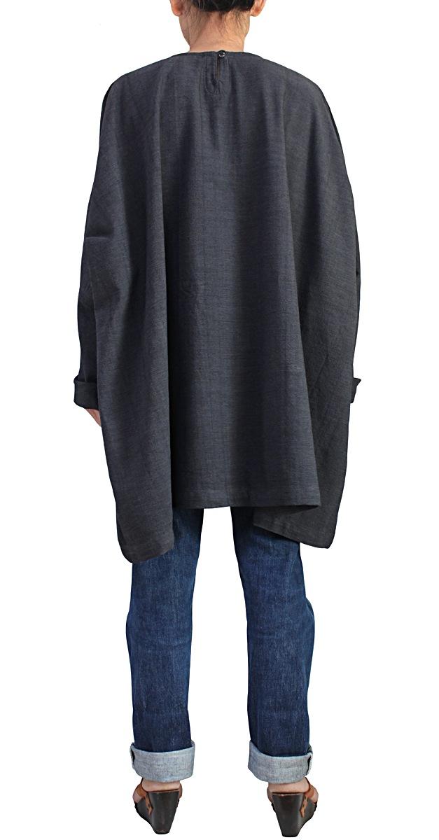 ジョムトン手織り綿のビッグチュニック(墨黒)
