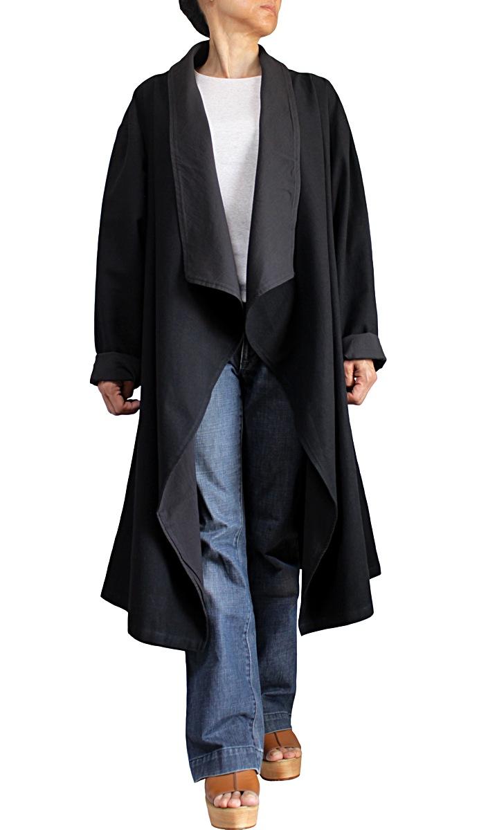ジョムトン手織り綿オープンコート紐付き