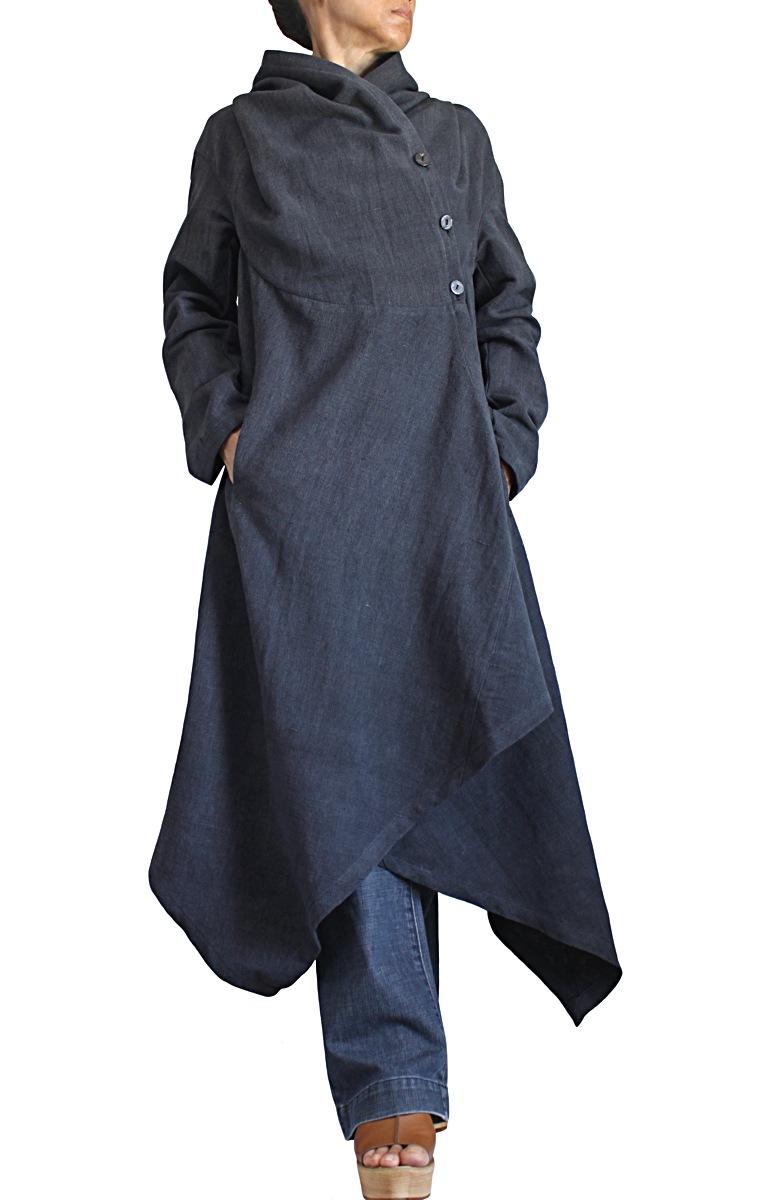 ジョムトン手織り綿フーデッドドレスコート(墨黒・JFS-159-01)