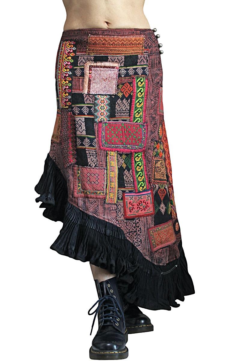 モンの古布パッチワークマーメイドスカート(SHM-005-06)
