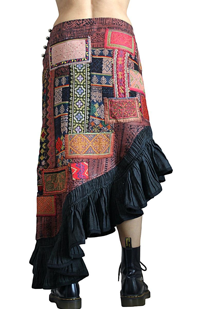 モンの古布パッチワークマーメイドスカート(SHM-005-05)