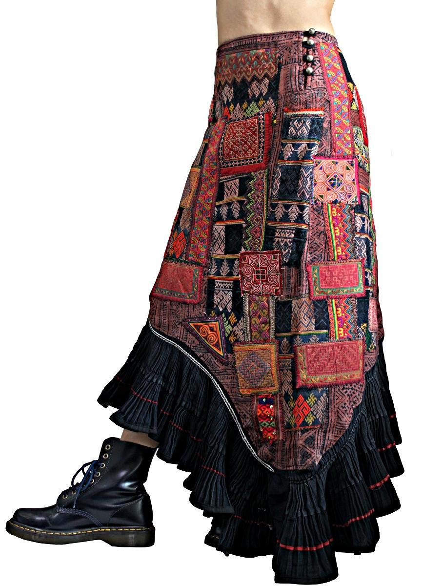 モンの古布パッチワークマーメイドスカート(SHM-005-07)