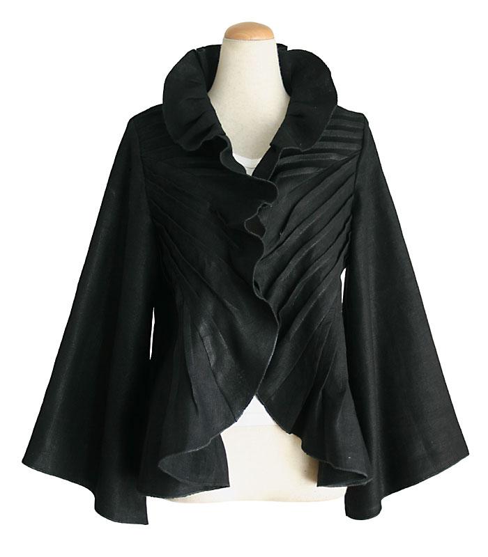 柔らかヘンプのボレロ風デザインジャケット(黒)