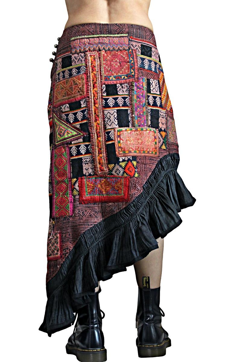 モンの古布パッチワークマーメイドスカート(SHM-005-11)
