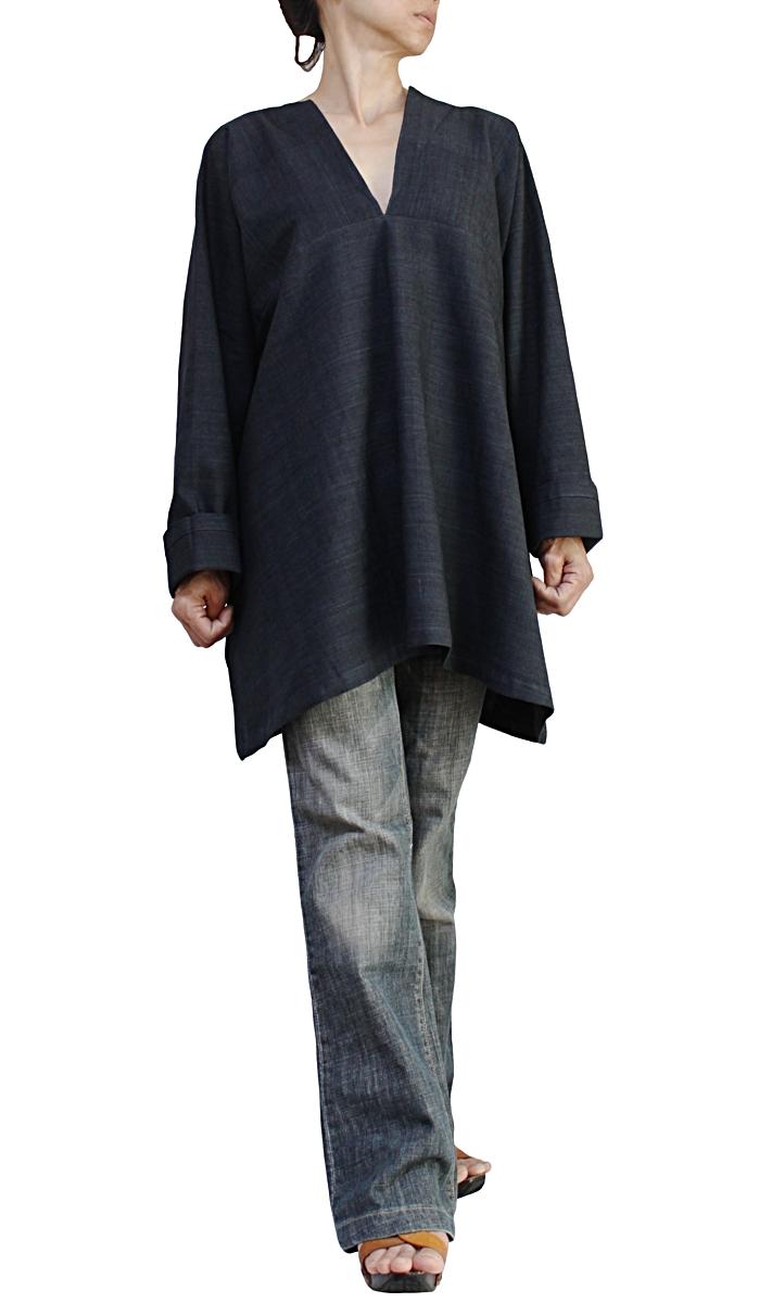 ジョムトン手織綿のシンプルVチュニック(BFS-160)