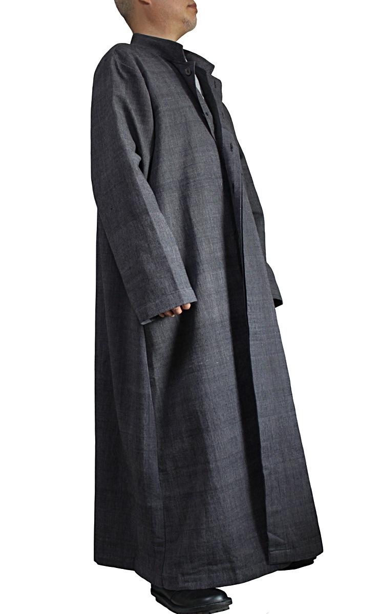ジョムトン手織り綿スタンドカラーロングコート(JNN-092-01)