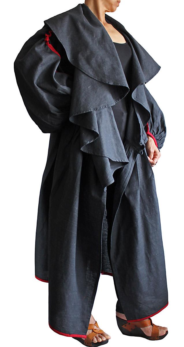 リネンのデザインコートドレス(墨黒)