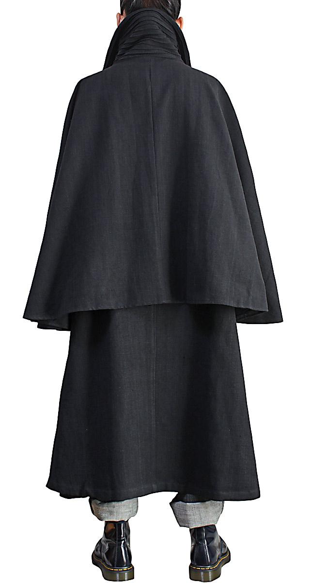 ジョムトン手織り綿のレディースハイネックインバネスコート(黒)