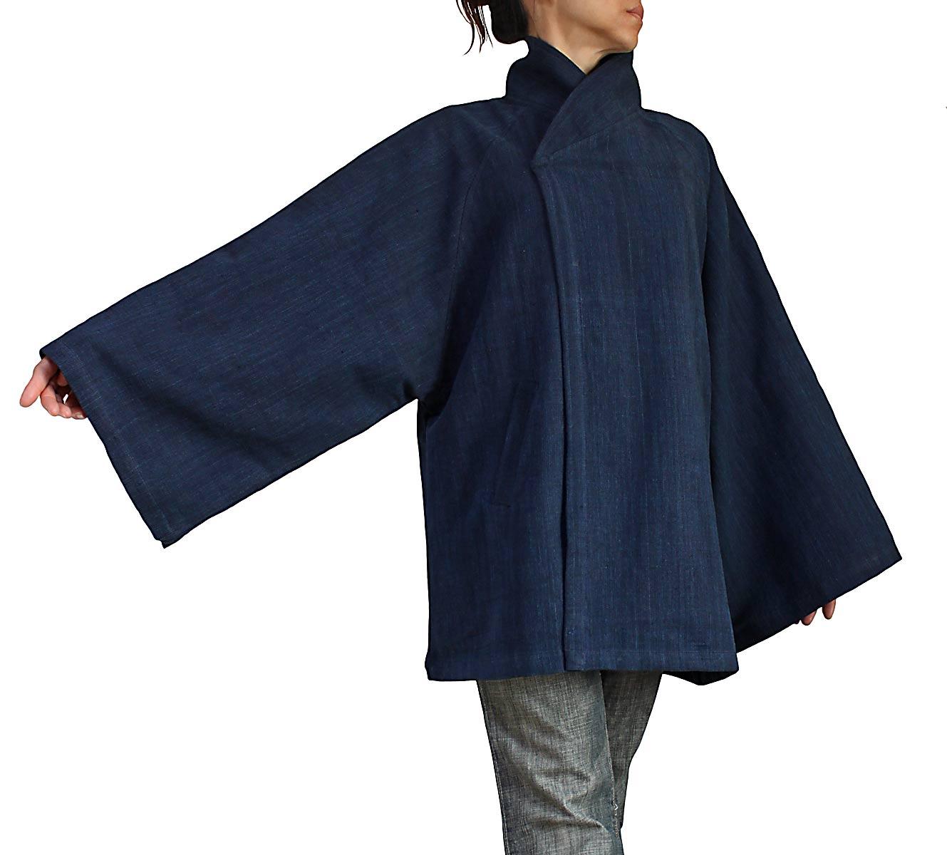 ジョムトン手織り綿和風ハーフコート(インディゴ紺)