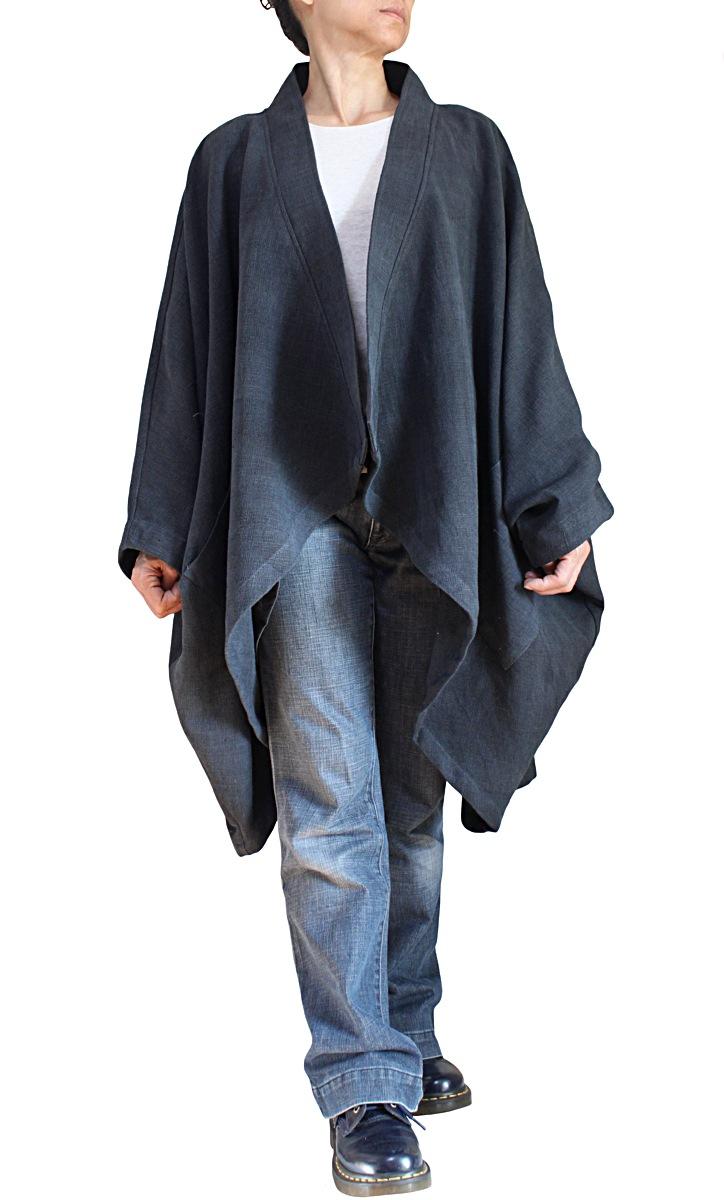 ジョムトン手織り綿着物コクーンコート(JNN-094-01)