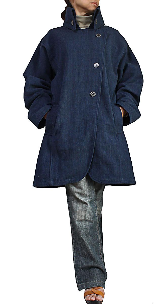 ジョムトン手織り綿ハイネックハーフコート(インディゴ紺)