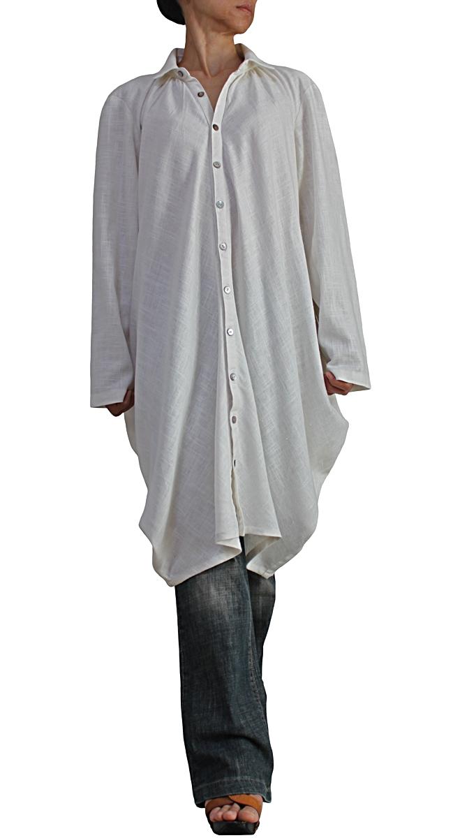 柔らかヘンプのチュニックロングシャツ(生成)