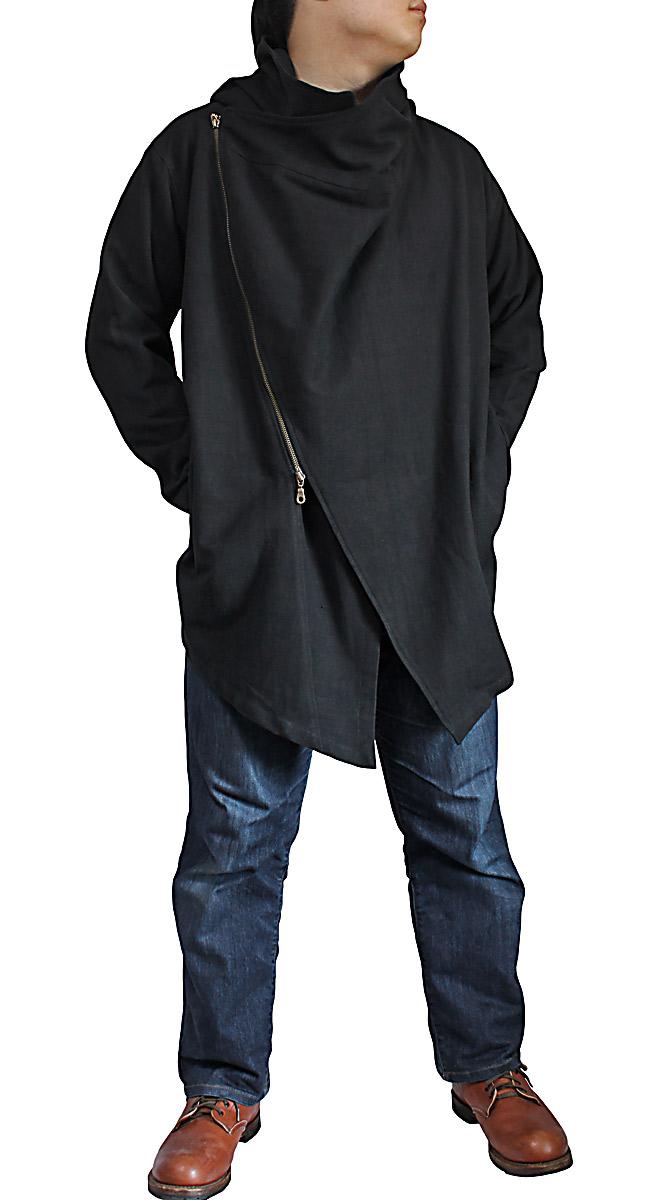 ジョムトン手織り綿ダブルジップのフーデッドコート(黒)