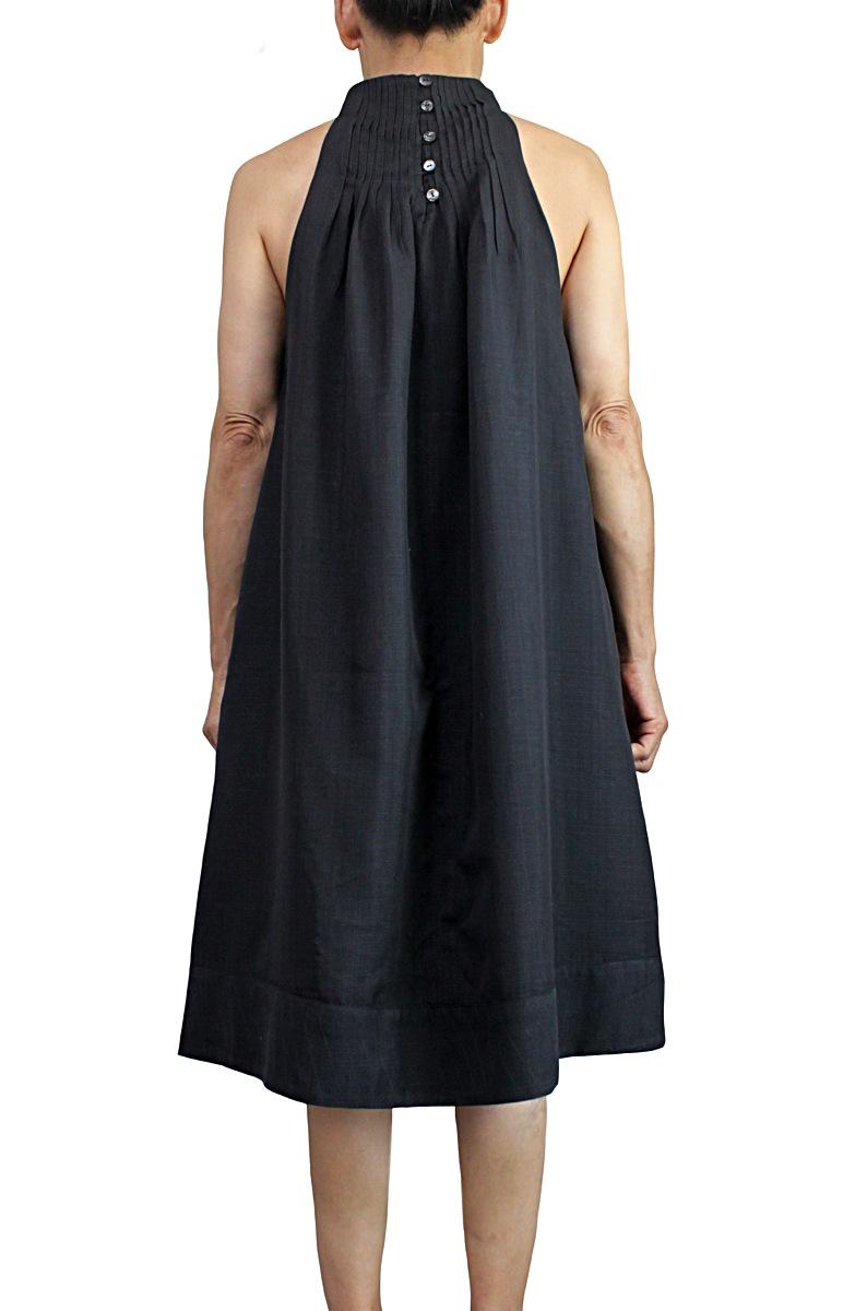 ビルマシルクのデザインノースリーブドレス(黒)
