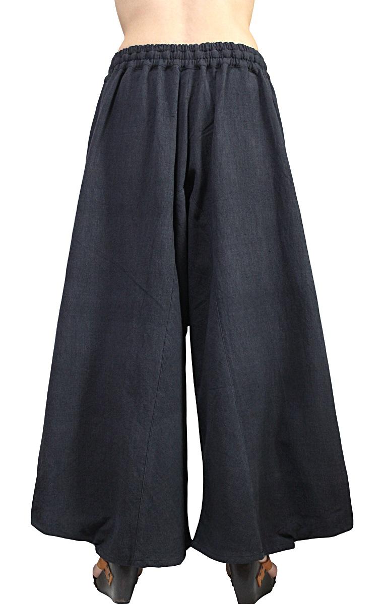 ジョムトン手織り綿のビッグポケットパンツ(墨黒)