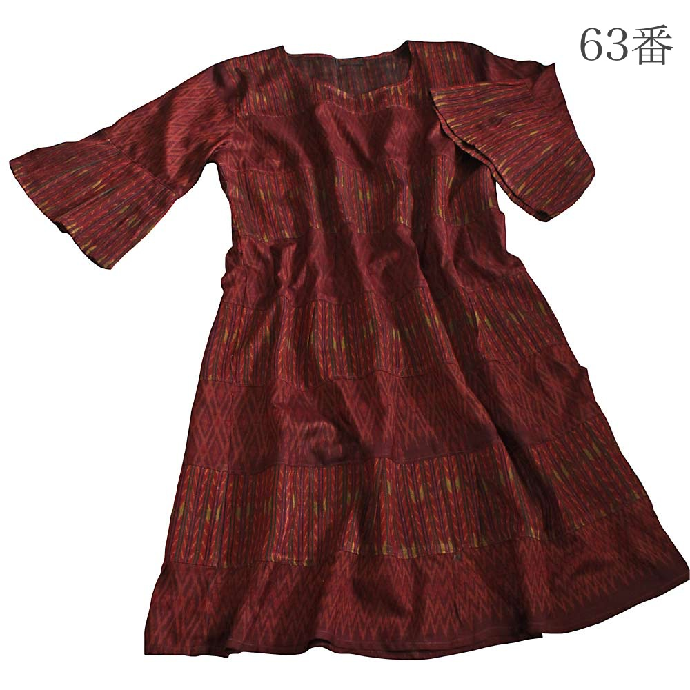 オールドタイシルク8段チュニックドレス(DOT-004)