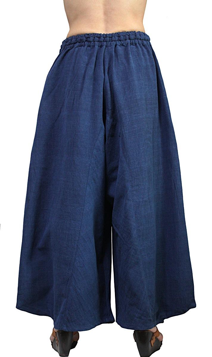 ジョムトン手織り綿のビッグポケットパンツ(インディゴ)