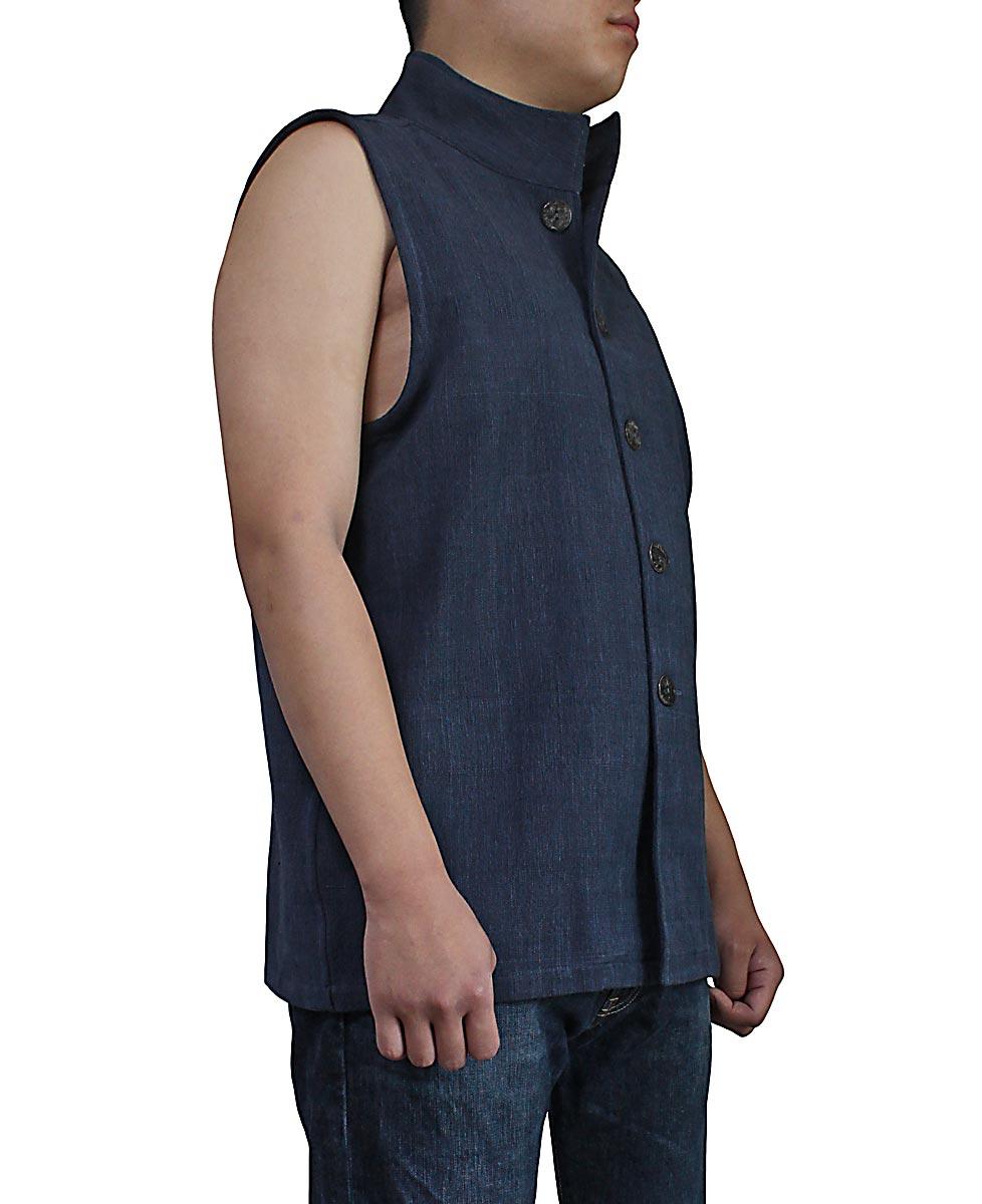 ジョムトン手織り綿スタンドカラーノースリーブジャケット(インディゴ紺)