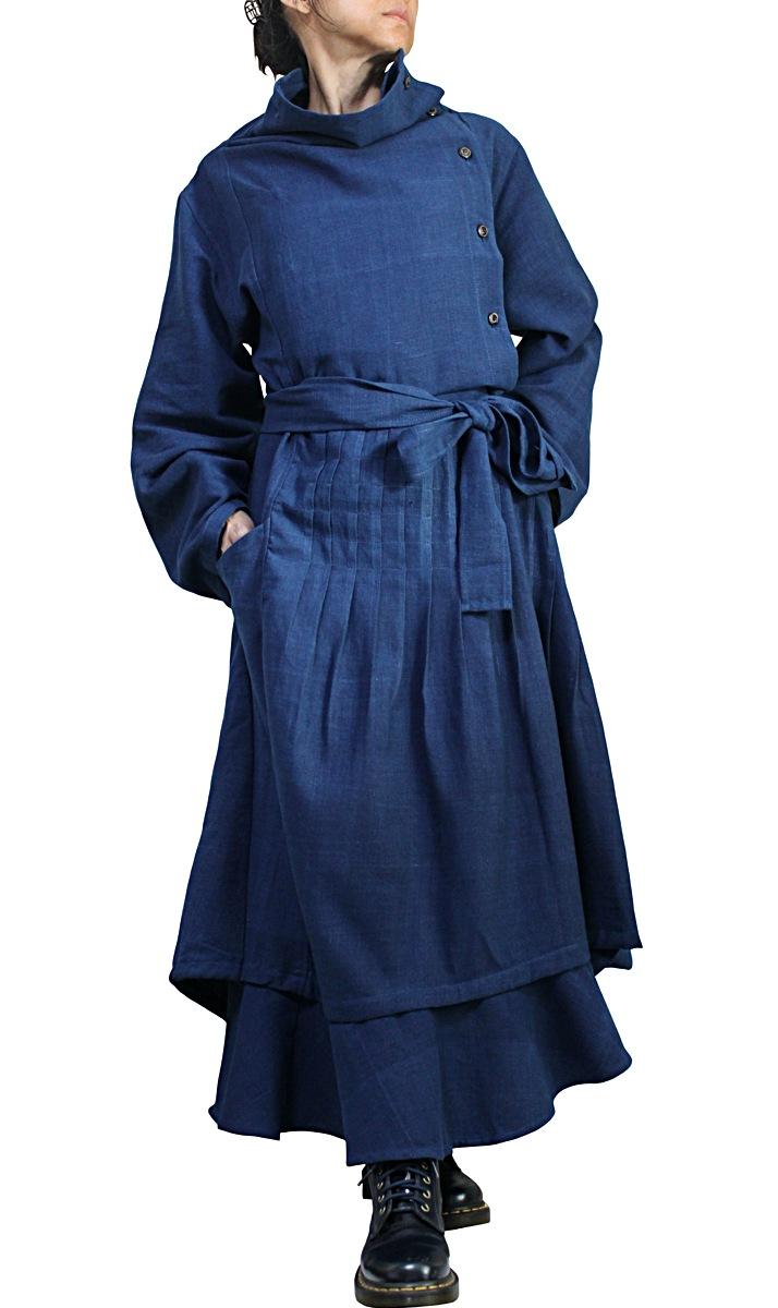 天然インディゴ染めジョムトン手織り綿のデザインドレス(DNN-102-03)