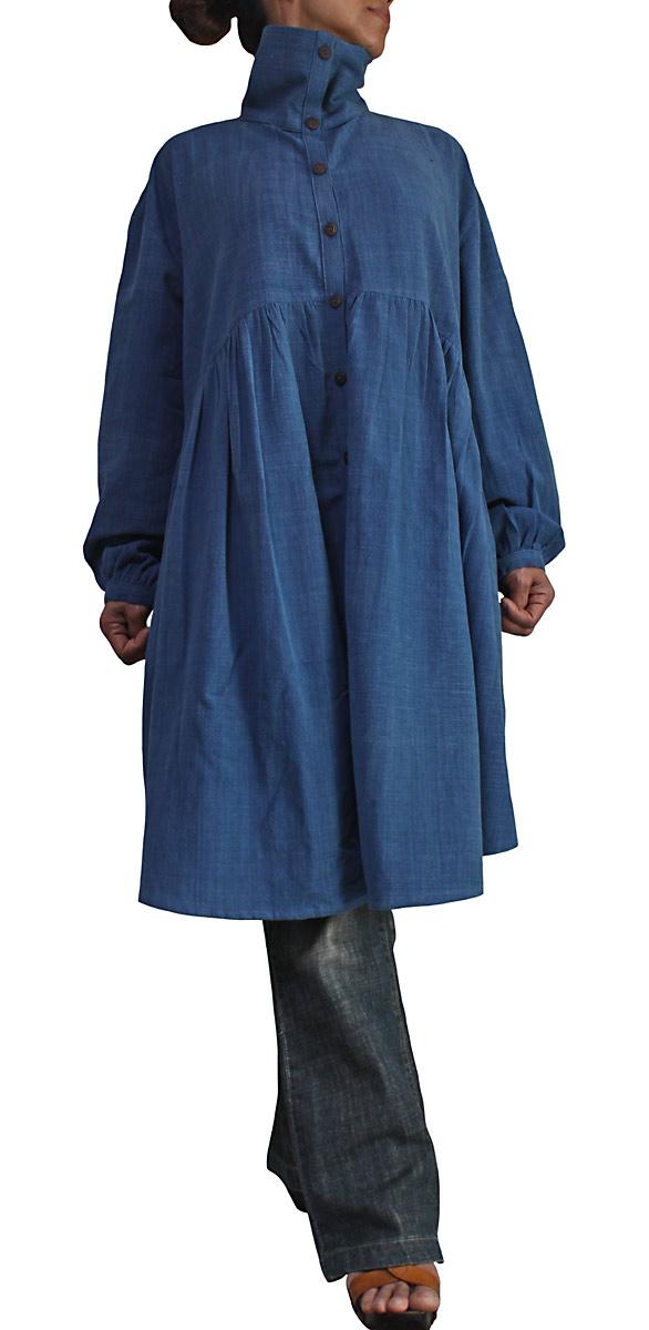 ジョムトン手織り綿のゆったりチュニックブラウス(インディゴ)