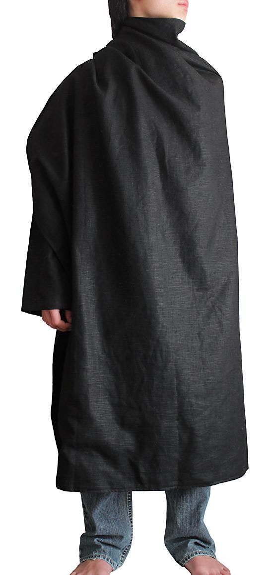 柔らかヘンプの片袖マントコート