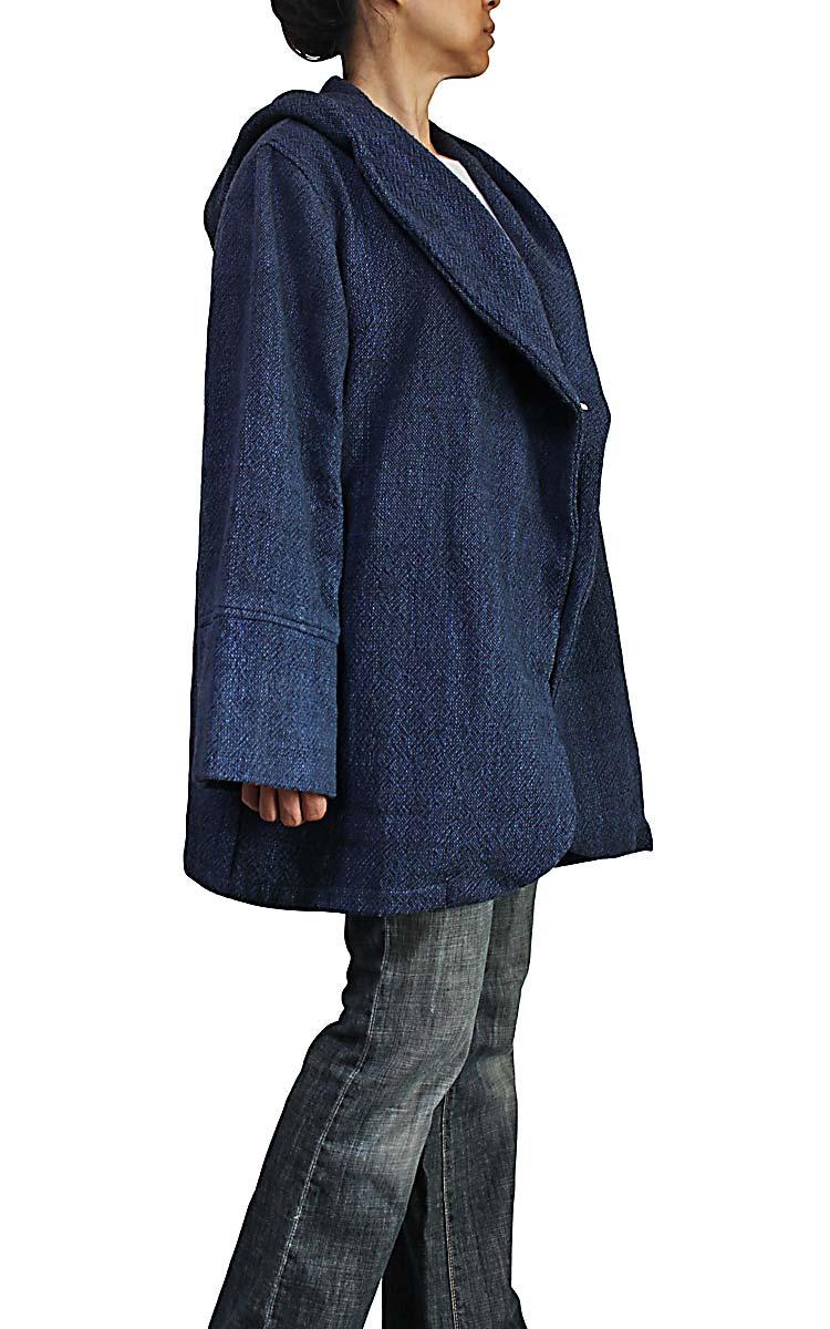 ざっくりジョムトン手織り綿フード付きデザインジャケット