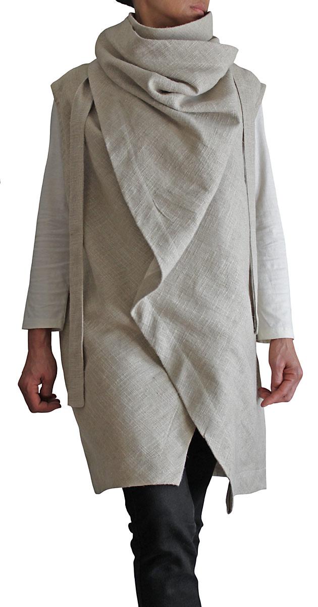 柔らかヘンプのノースリーブデザインジャケット