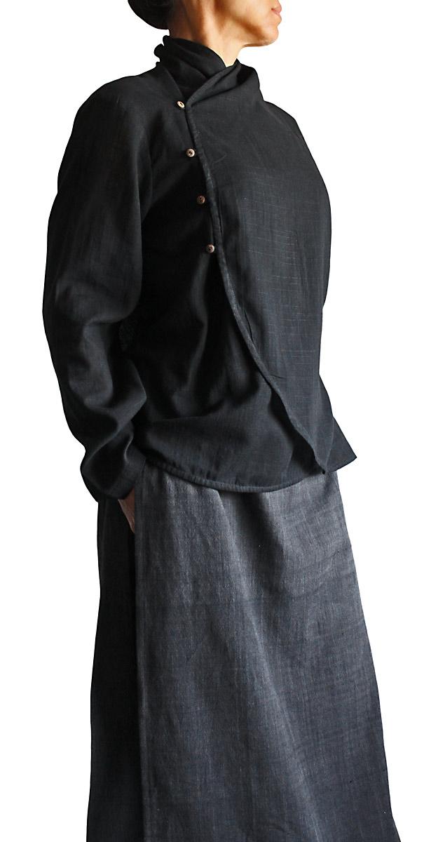 柔らかコットン下弦のブラウス(黒)