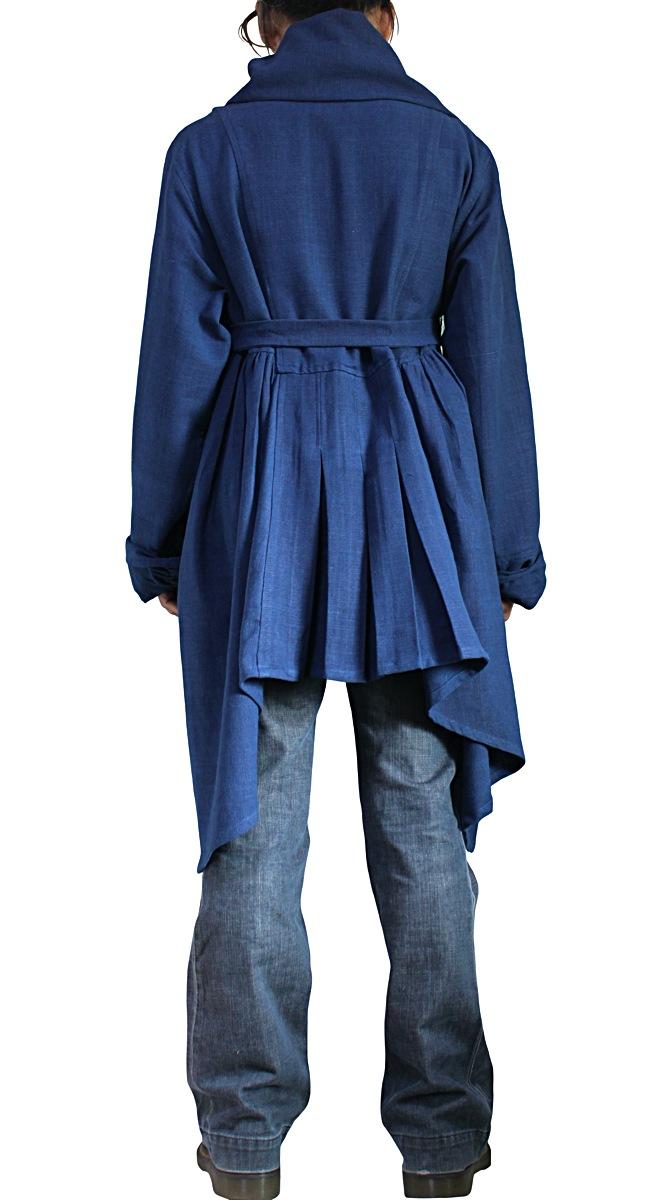 天然インディゴ染めジョムトン手織り綿のフローイングコート紐付き(JNN-096-03)