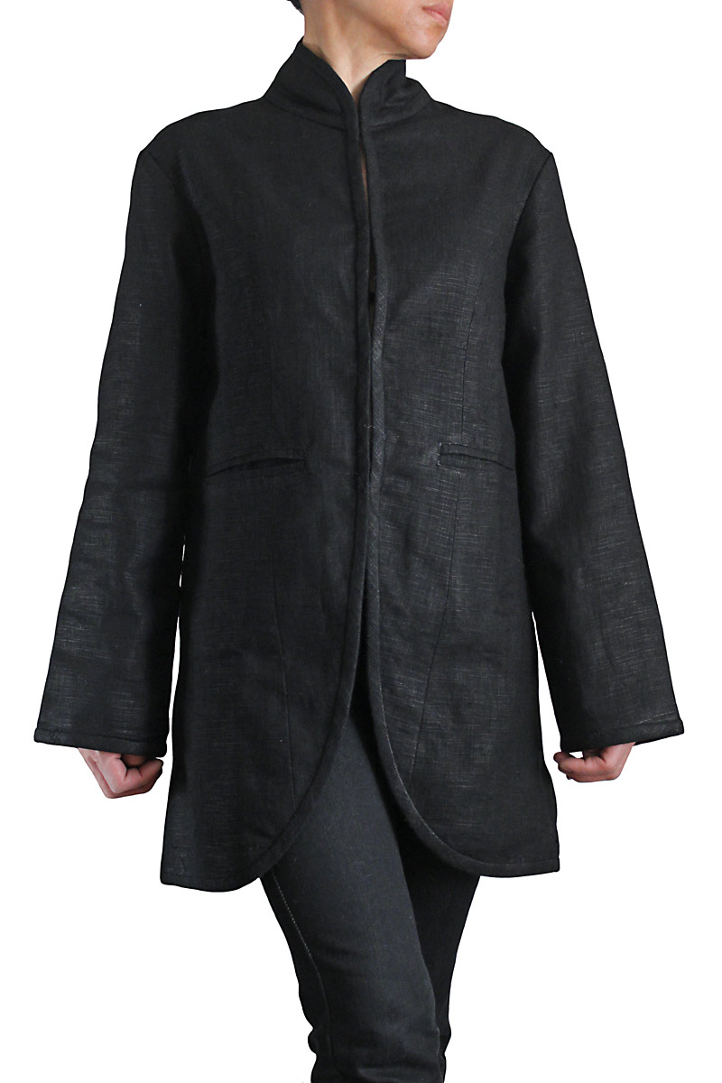 柔らかヘンプのスタンドカラージャケット