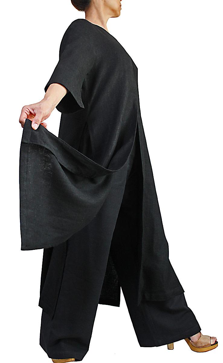 柔らかヘンプのロングドレスコート(黒)