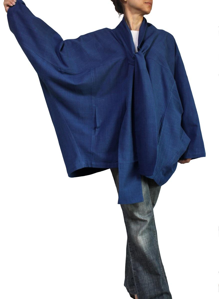 ジョムトン手織り綿サバイ付きムササビコート(インディゴ)