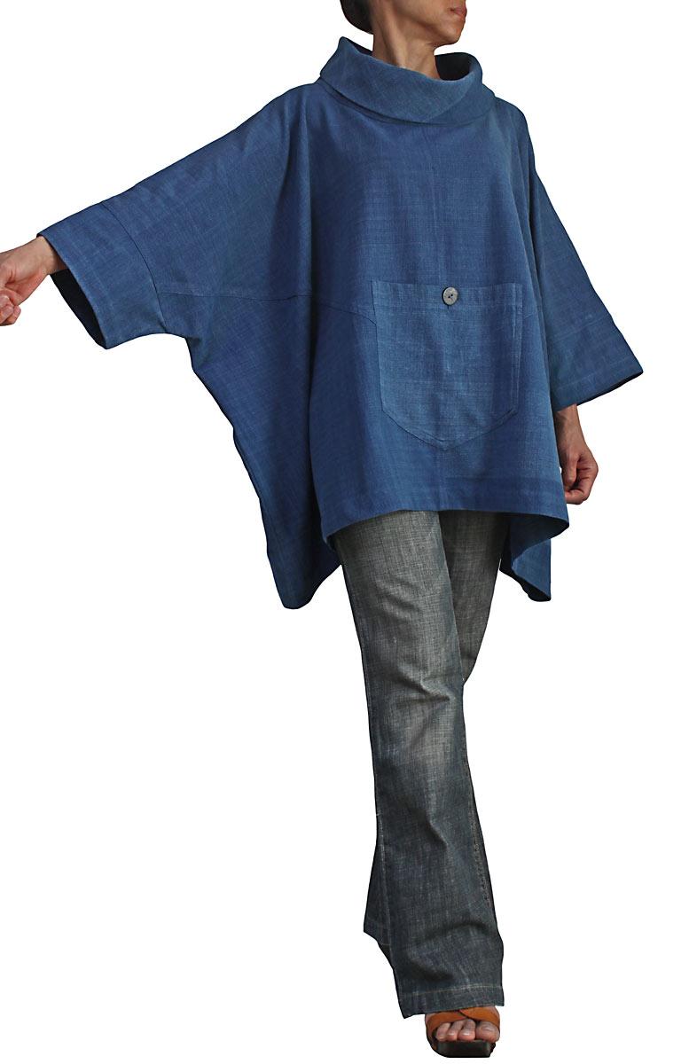 ジョムトン手織り綿のハイネックポンチョプルオーバー(インディゴ)