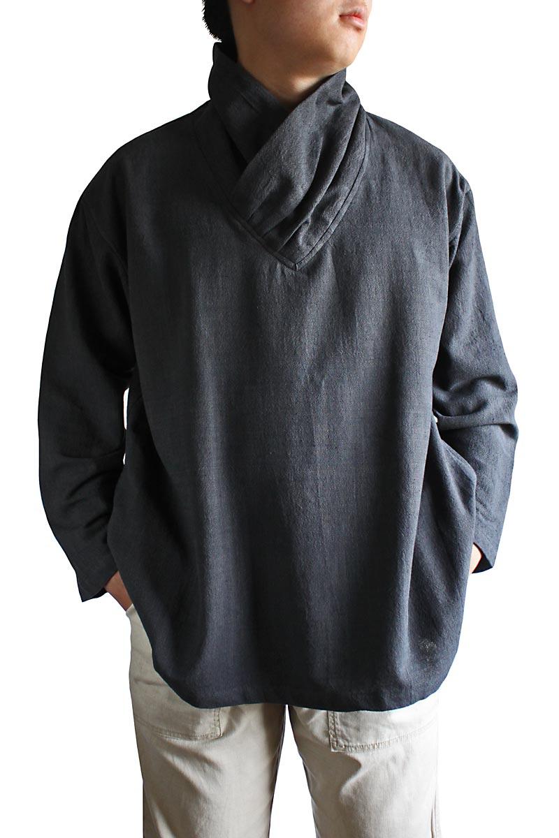 ジョムトン手織り綿襟巻きメンズプルオーバー(BFS-116)