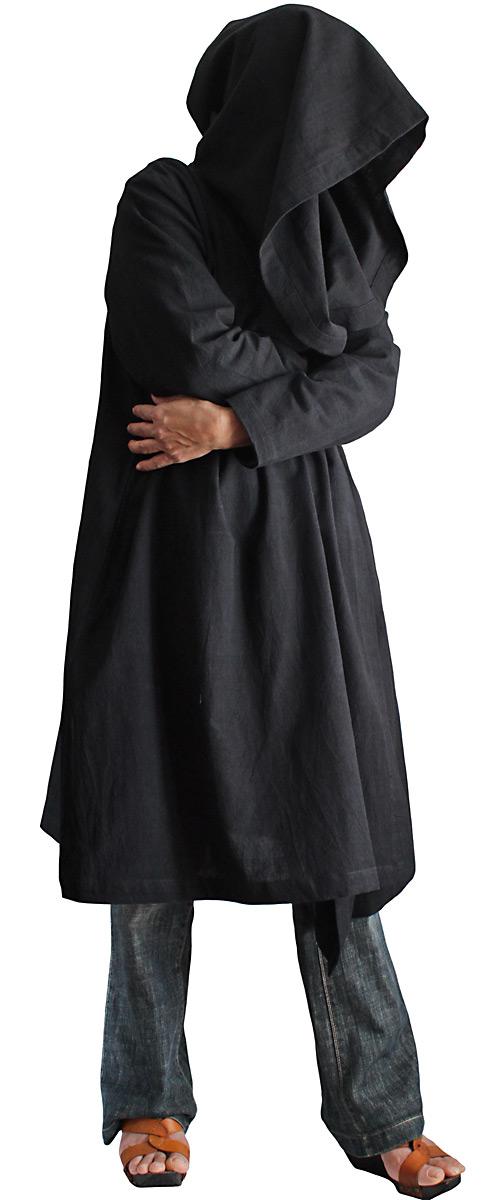 ジョムトン手織り綿フーデッドラップコート(黒)