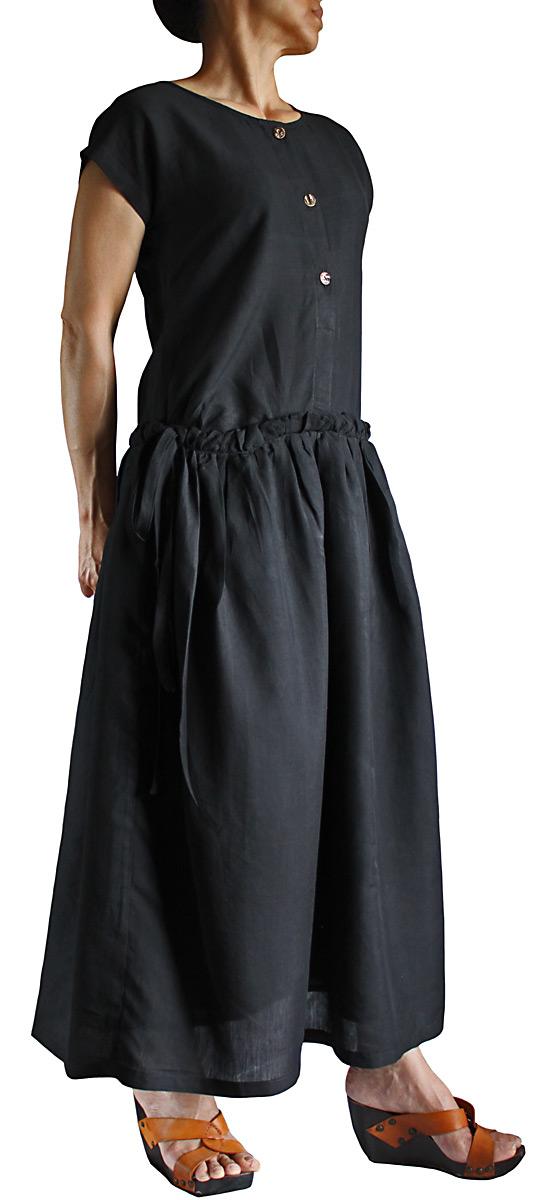 ビルマシルクのサンドレス(黒)