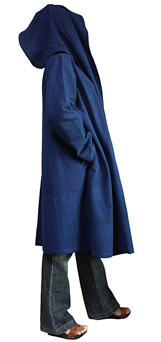 ジョムトン手織り綿フーデッドラップコート(インディゴ)