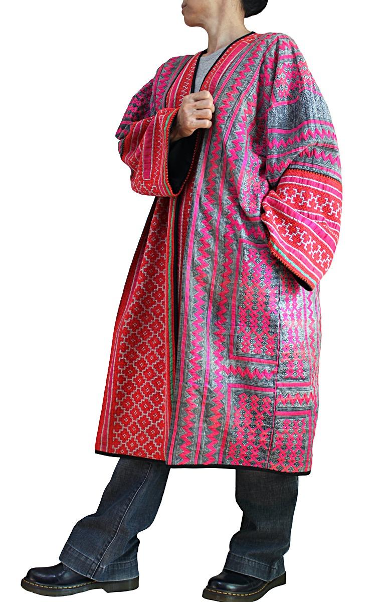 モンの古布刺繍ルーズローブコート(JHM-017-01)