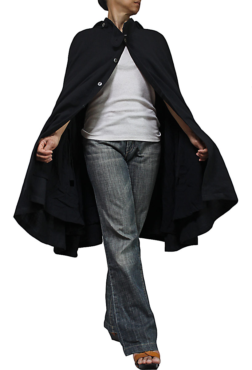 ジョムトン手織り綿マント風ポンチョジャケット(黒)